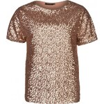 Firetrap Rose Gold Sequin T Shirt Ladies, rose gold