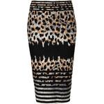 Topshop Striped Animal Print Tube Skirt