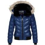 Dámská modrá zimní bunda SUBLEVEL s kožíškem