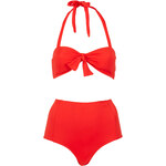 Topshop Red Bandeau High Waist Bikini