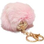 Chlupatá plyšová ozdoba na klíče a kabelku světle růžová A43703