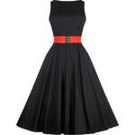 Šaty Lady V London Audrey Black Red Belt -