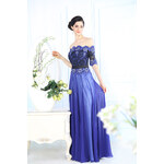 Dorisqueen Hedvábné šaty s krajkou a holými rameny