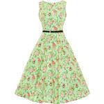LADY VINTAGE Dámské šaty Hepburn Zelená louka