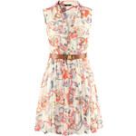 SheInside Beige Sleeveless Floral Belt Chiffon Dress
