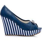 Mshoes Sailor lodičky na klínu modré Velikost: 39/24,5 cm
