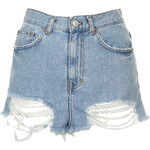 Topshop MOTO Bleach Ripped Mom Shorts
