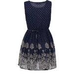 Modré šaty TENKI s puntíky a krajkou