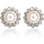 Marks and Spencer M&S Collection Pearl Effect Diamanté Bezel Floral Stud Earrings