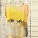 LightInTheBox Women's Korean Fashion Printing Short Sleeve T-Shirt(Pattern Location randomly)