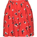 Topshop Paint Floral Print Flippy Skirt