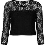 Topshop Lace 3/4 Sleeve Crop Top