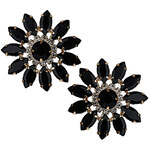 Topshop Premium Flower Black Stone Earrings
