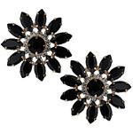 Topshop Premium Flower Black Stone Earrings
