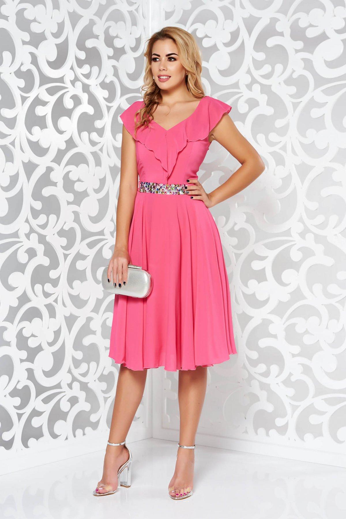 Fukszia StarShinerS ruha elegáns harang fátyol belső béléssel övvel ellátva strassz  köves kiegészítő. 1 f5577b93d4