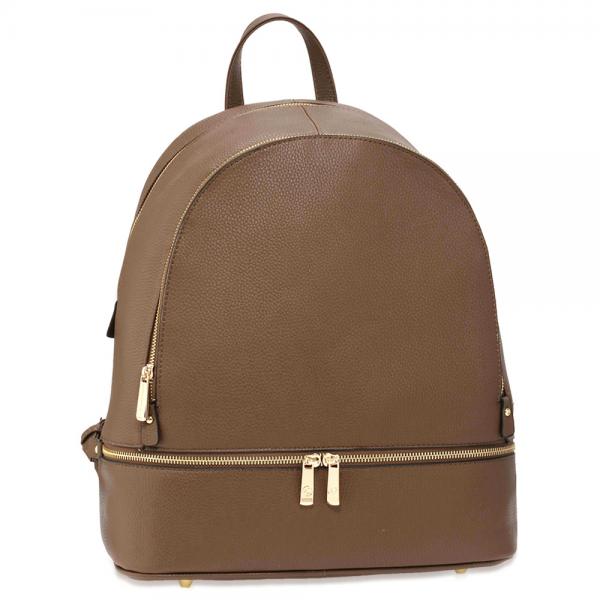 a8a843a57f8 LS Fashion hnědý elegantní batoh s ozdobou ze zipů - Glami.cz