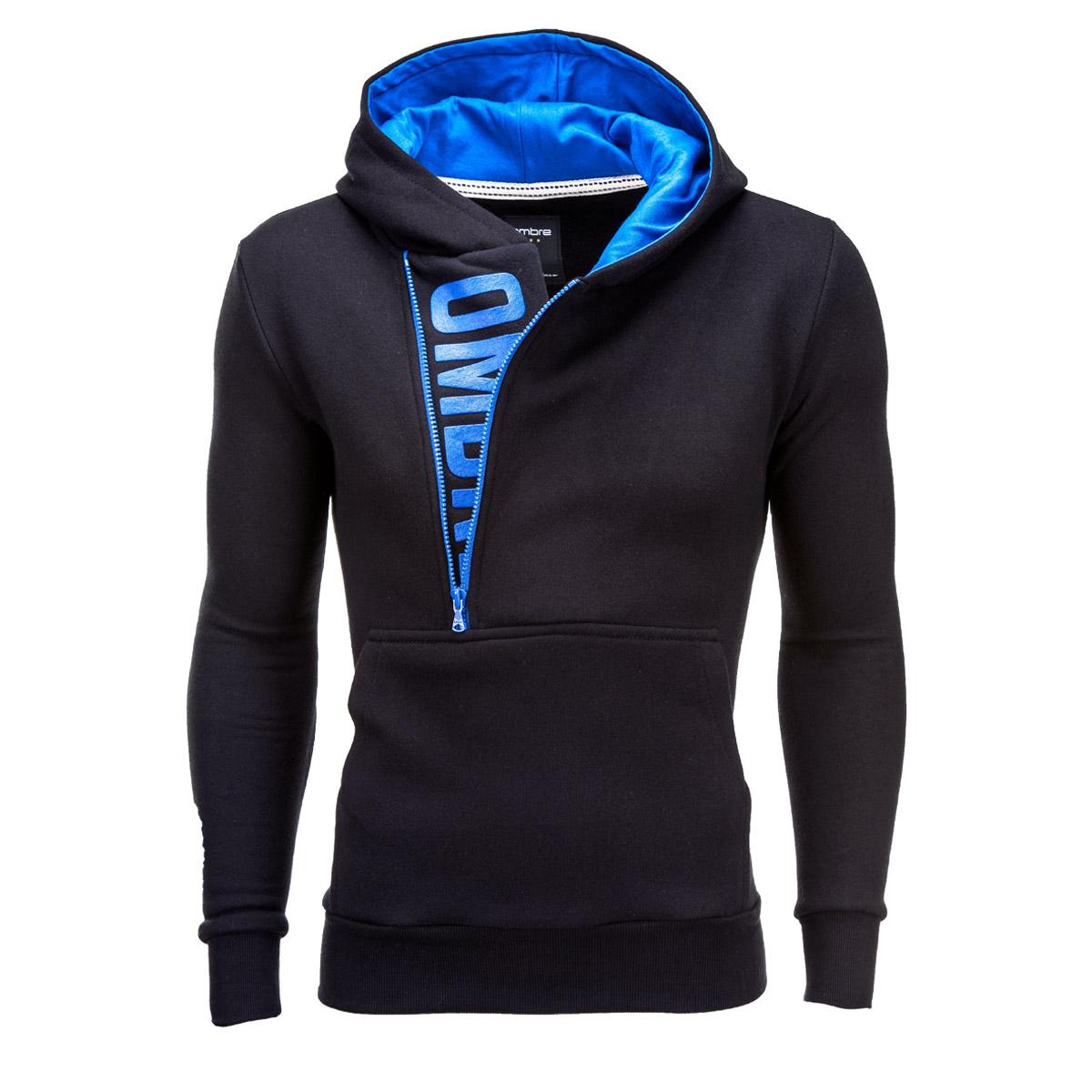 Ombre Clothing Pánska mikina Denis černo-modrá - Glami.sk 64a3b2a3131