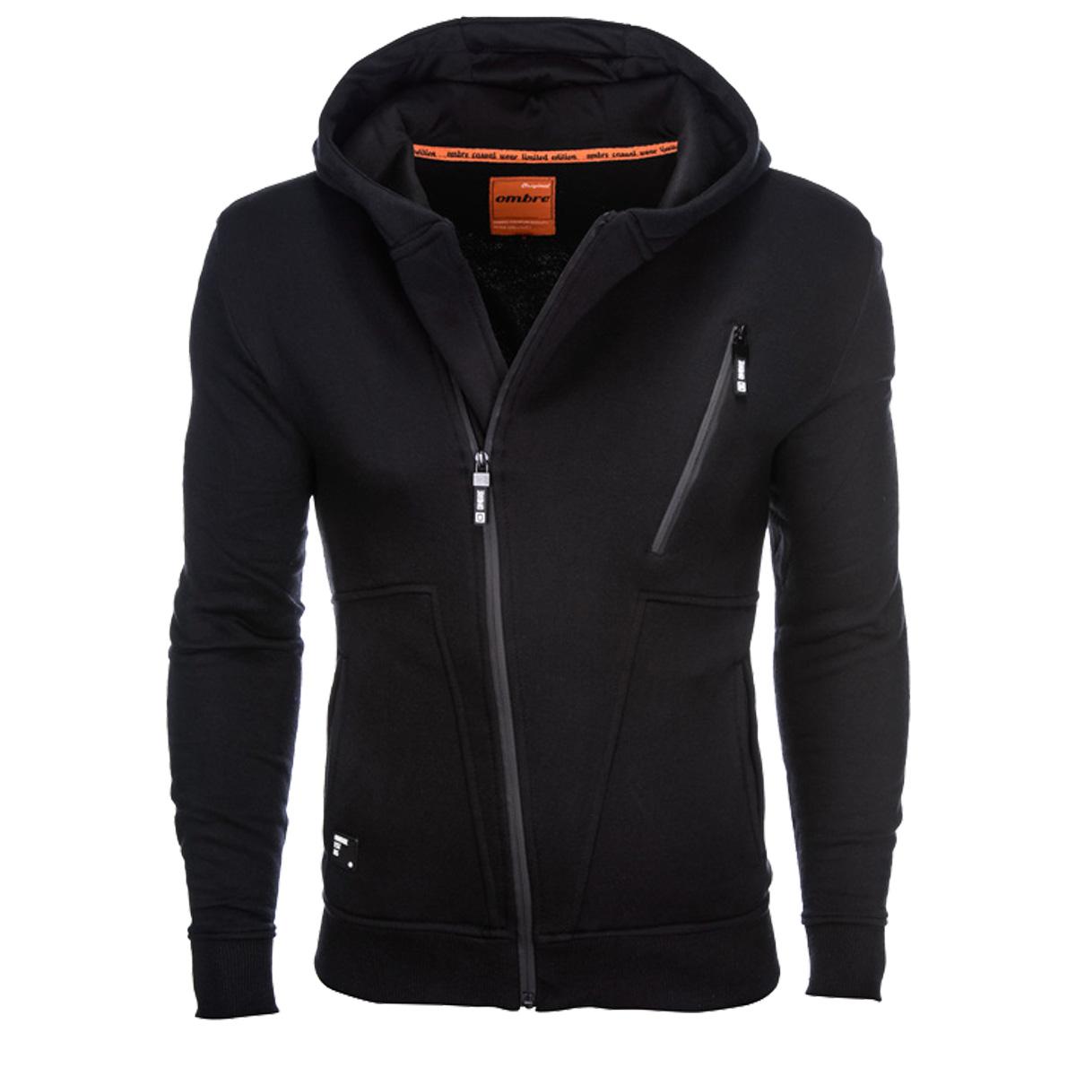 Ombre Clothing Férfi pulóver kapucnival Randy fekete - Glami.hu 60af1fa75e