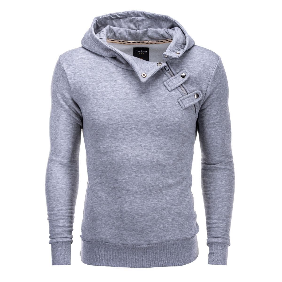 Ombre Clothing Pánska mikina Paco s bočným zipsom šedá - Glami.sk 243bffee28a