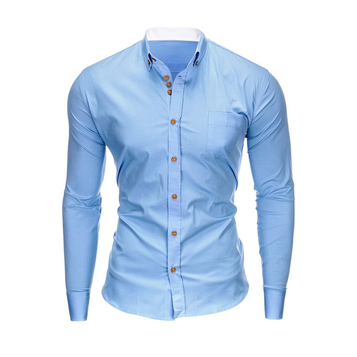 696a39ab652b Ombre Clothing Pánska košeľa slim fit Jude svetlo modrá - Glami.sk