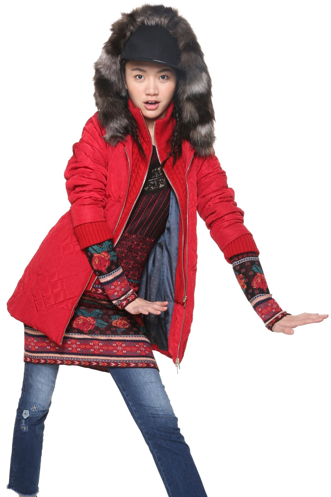8f4b6b6579 Desigual piros kabát Maca - Glami.hu