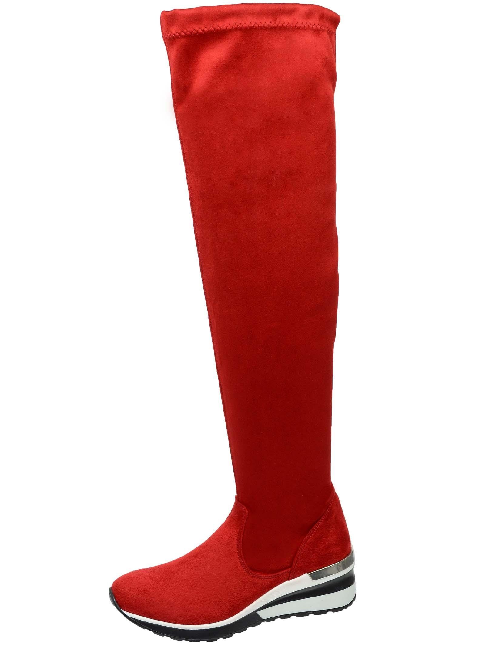 42e273f686 OLIVIA SHOES Červené vysoké čižmy nad kolená DCI029 1 Angel - Glami.sk