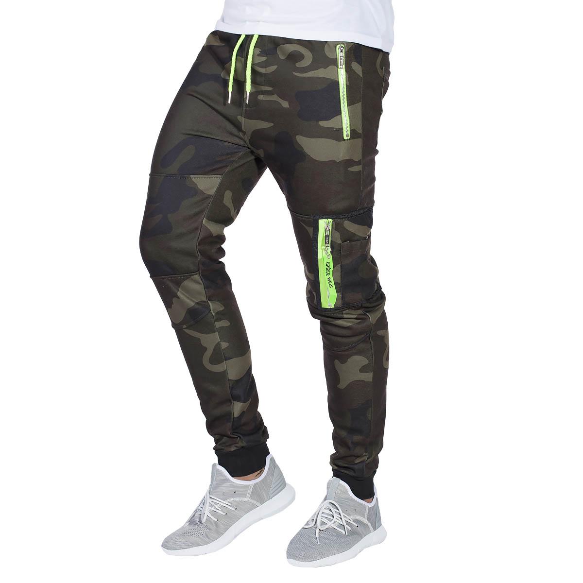 e19b8e24d9 Ombre Clothing Férfi melegítő nadrág cipzáras zsebekkel Frankie terepmintá  zöld