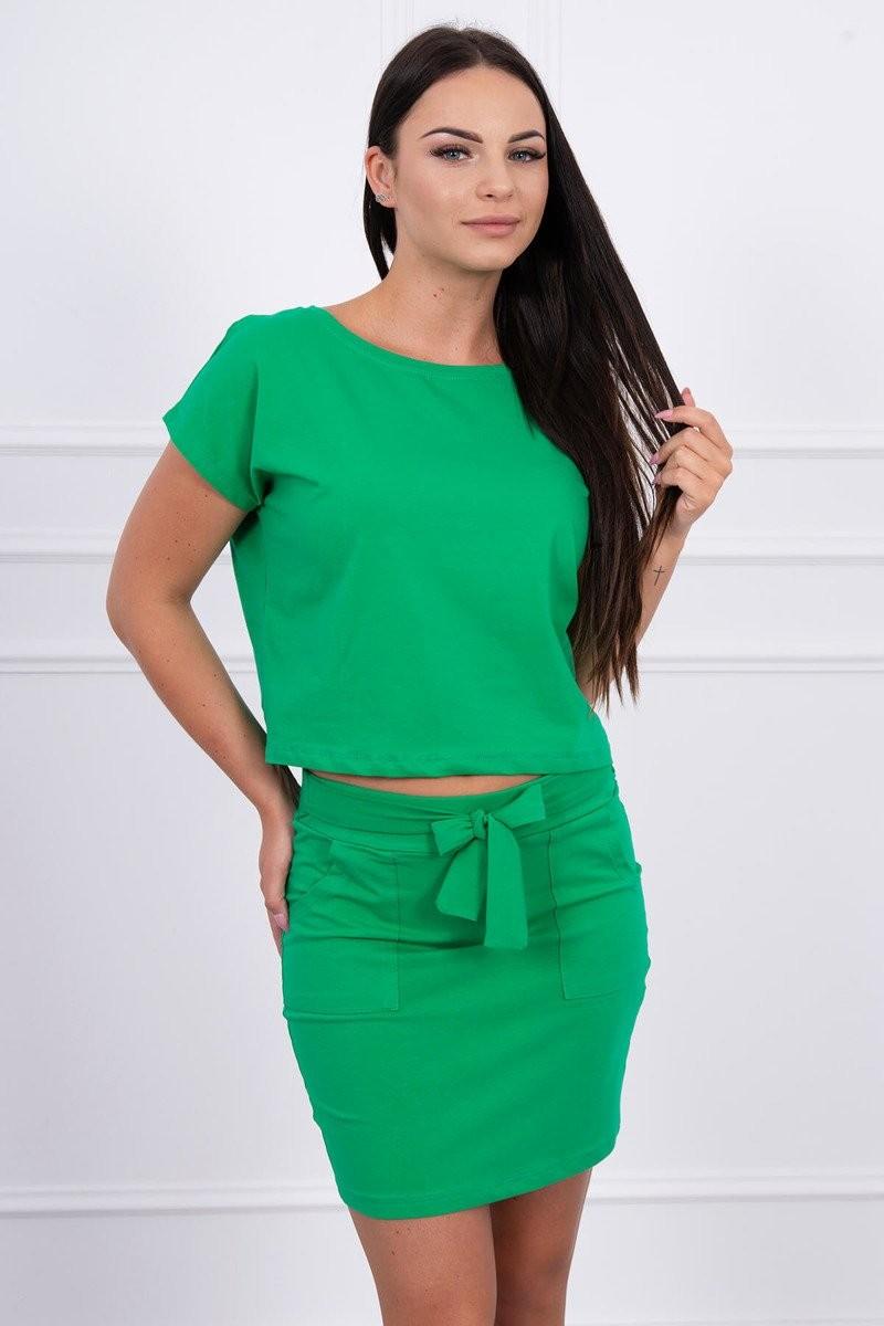 85fe13805 MladaModa Súprava top + sukňa s viazankou zelená - Glami.sk