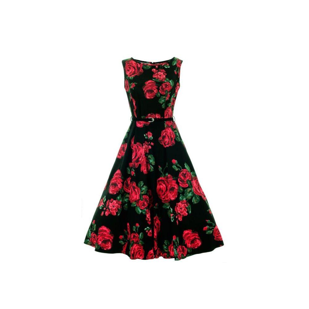 Lady Vintage Šaty Hepburn s červenými Ružami - Glami.sk ce730e733d
