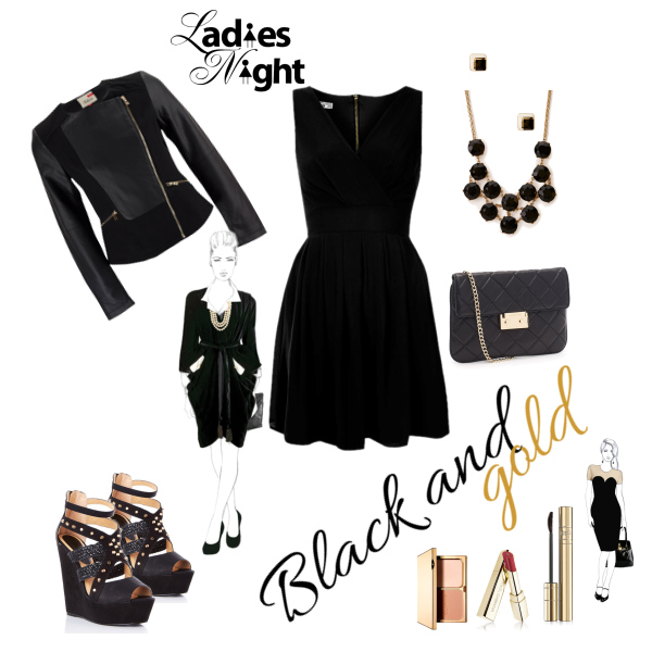 Black and gold outfit.