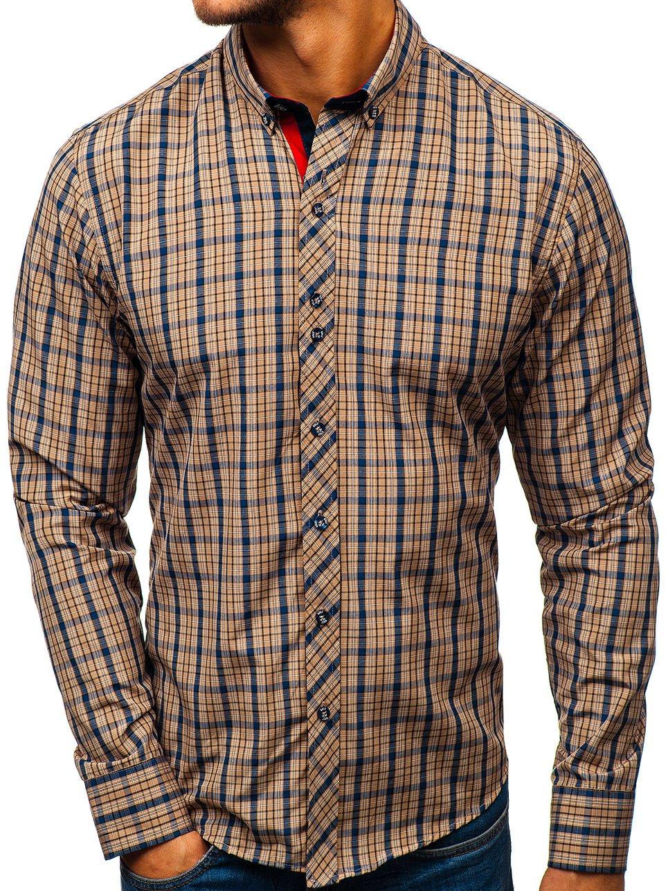 Hnědá pánská kostkovaná košile s dlouhým rukávem Bolf 8835 - Glami.cz d83fa0d72d