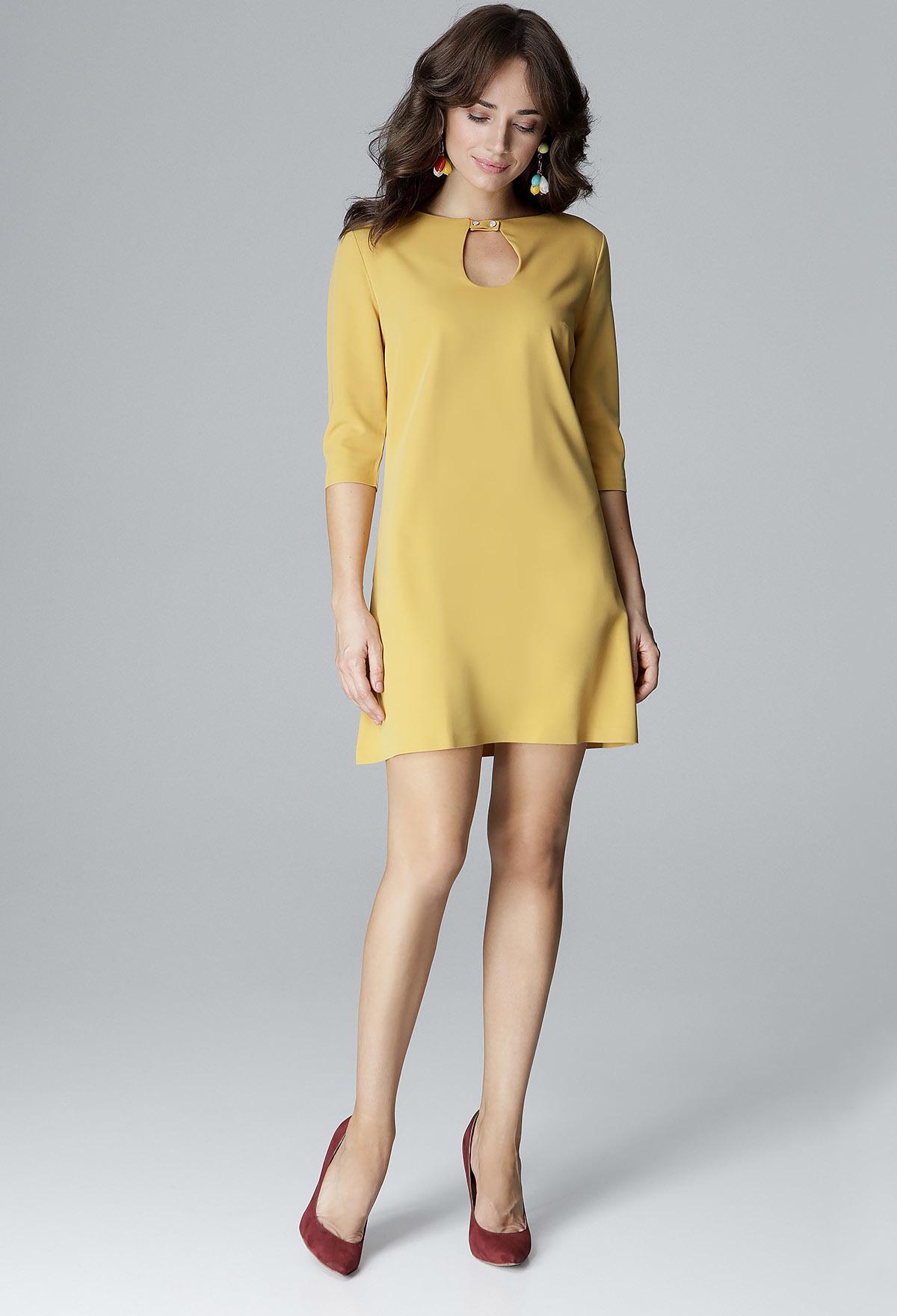 25ceb085b6d9 LENITIF Žlté šaty so zapínaním pri krku L001 - Glami.sk