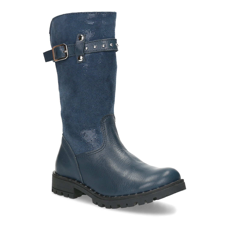 3913a7d1f Mini B Dievčenské kožené modré zimné čižmy - Glami.sk