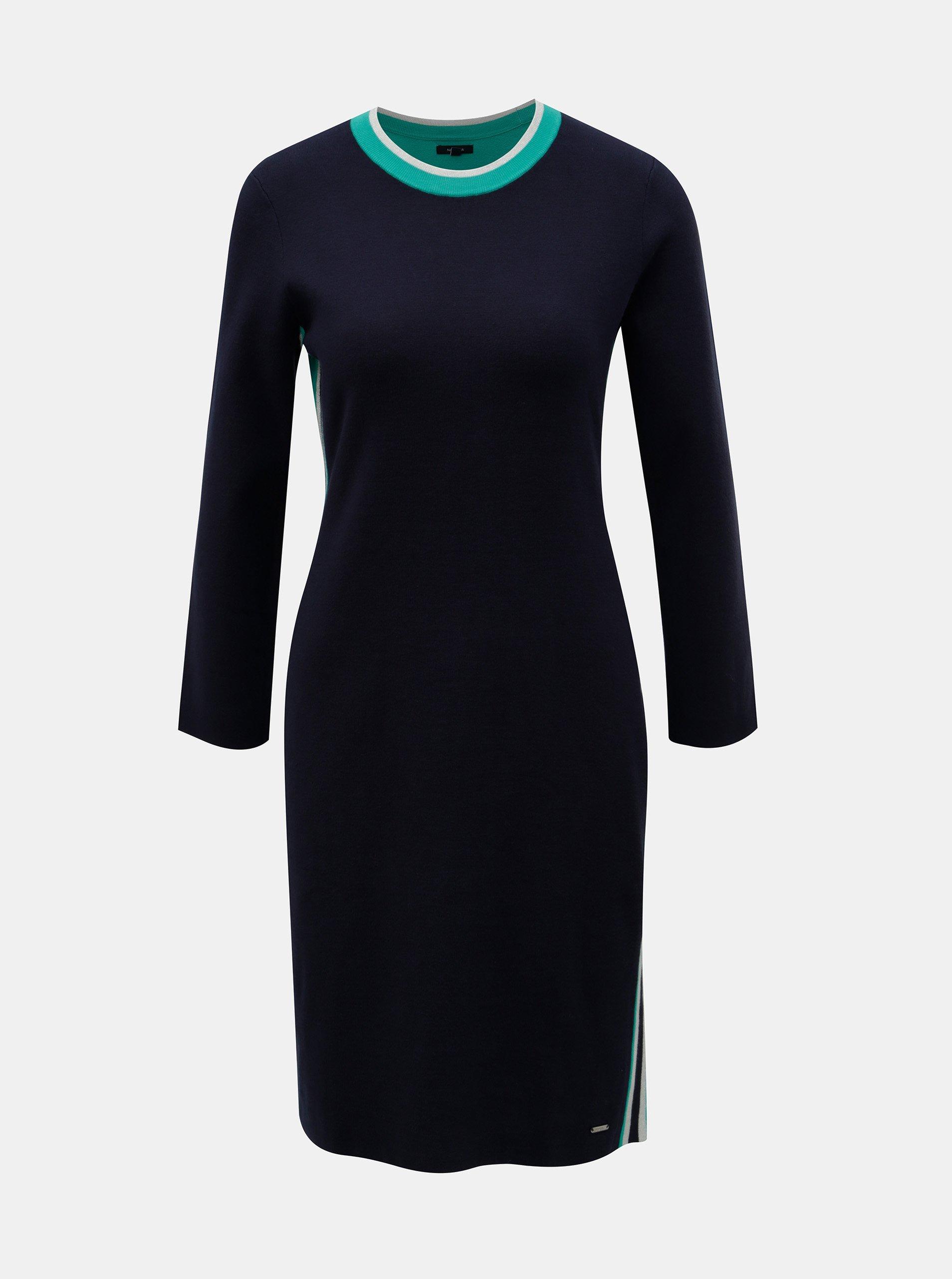 52c40b8f2f69 Tmavě modré svetrové šaty s pruhy na bocích Nautica - Glami.cz