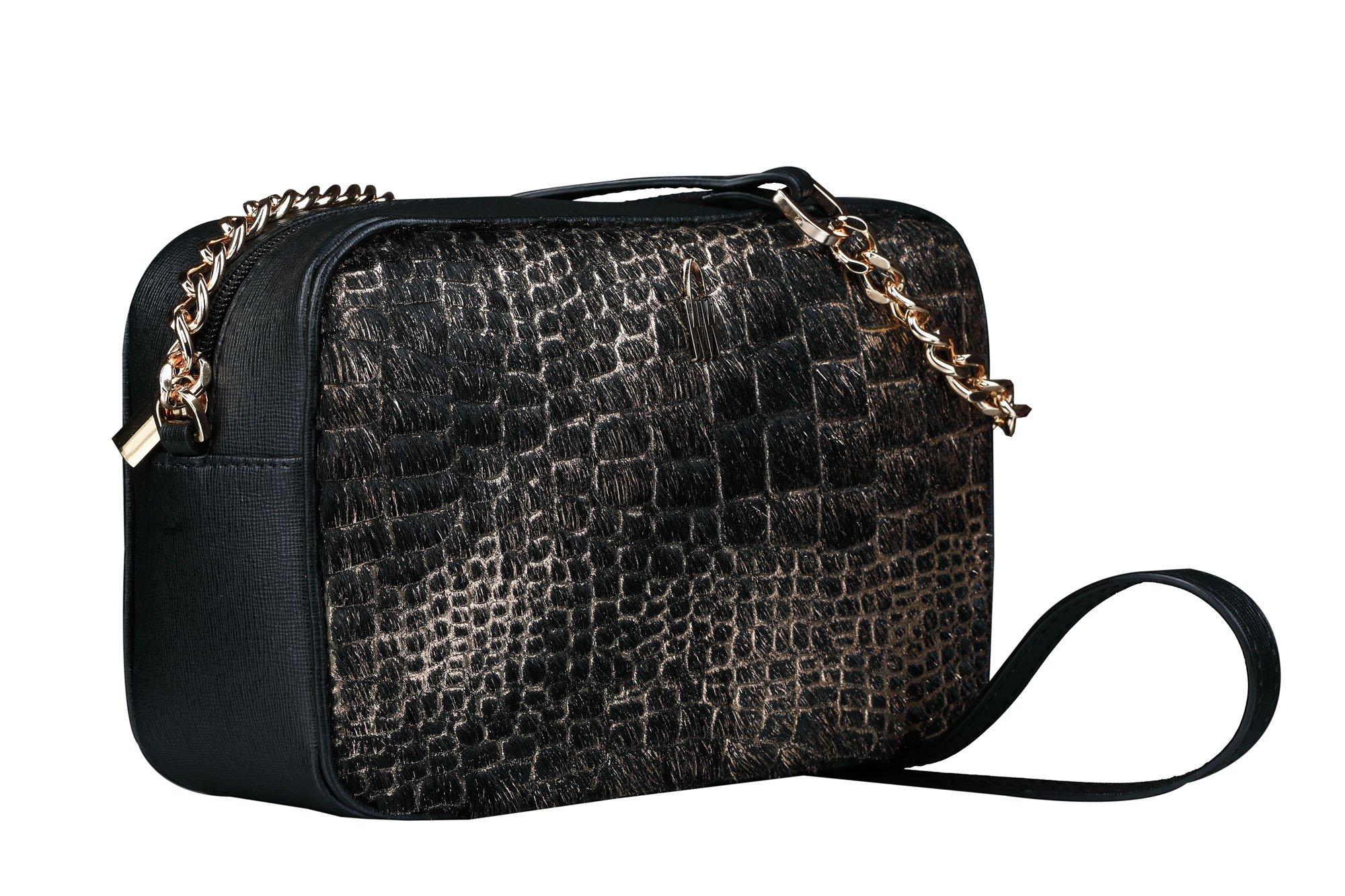 Malé luxusné kožené kabelky crossbody Wojewodzic čiernožltej s vlasom  31747 . 1 dfd2168e7a4