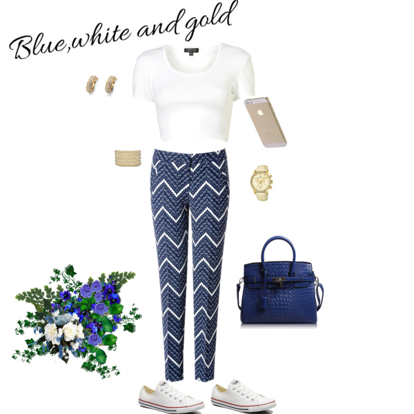 Blue,white and gold