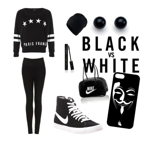 blak and white