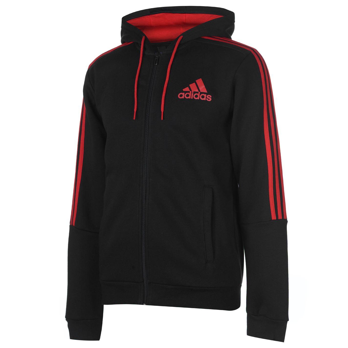 adidas 3 Stripes Zip Through pánská mikina Black Red - Glami.cz 6997fe6e764