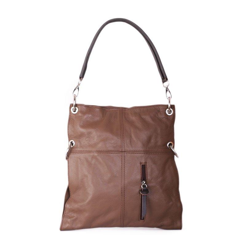 ITALSKÉ Kožená kabelka přes rameno Fulvia taupe s čokoládovou - Glami.cz 56a37a8b7ab