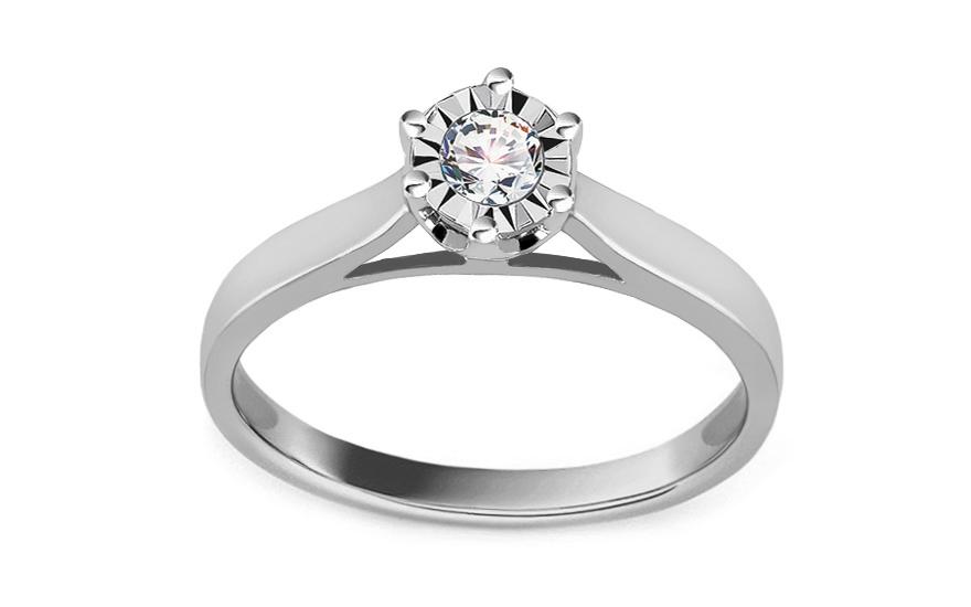 666fbeb18 iZlato Forever Zásnubní prsten z bílého zlata s diamantem 0,150 ct  ROYBR121A. 1