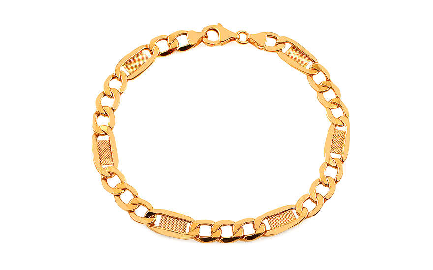 020298162 iZlato Forever Zlatý náramok Figaro s platničkami 7,3 mm IZ11679N ...