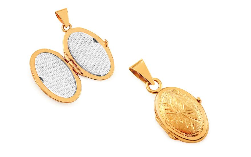 iZlato Forever Zlatý oválný medailon na fotku s květinovým gravírováním  IZ16962 c8c81a55159