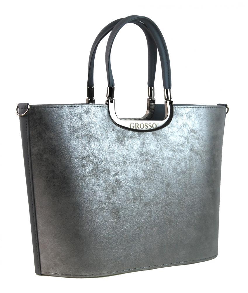 Stříbrno-šedá dámská kabelka do ruky S7 GROSSO - Glami.cz e8f2a781a8c