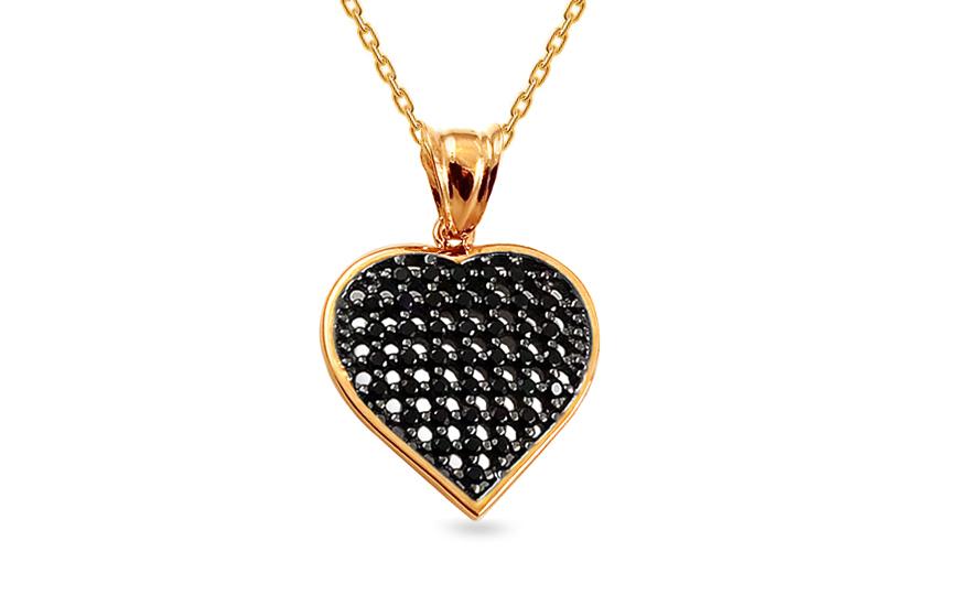 iZlato Design Zlatý prívesok srdiečko s čiernymi zirkónmi IZ14240B ... 0159ac2f22c