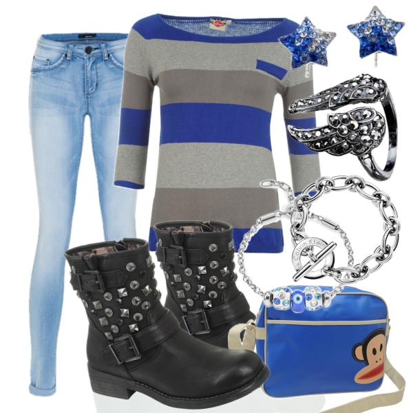 modrá a šedá