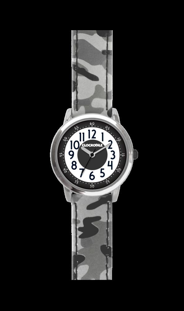 39e405fa0db Svítící šedé chlapecké hodinky CLOCKODILE ARMY s maskáčovým vzorem ...