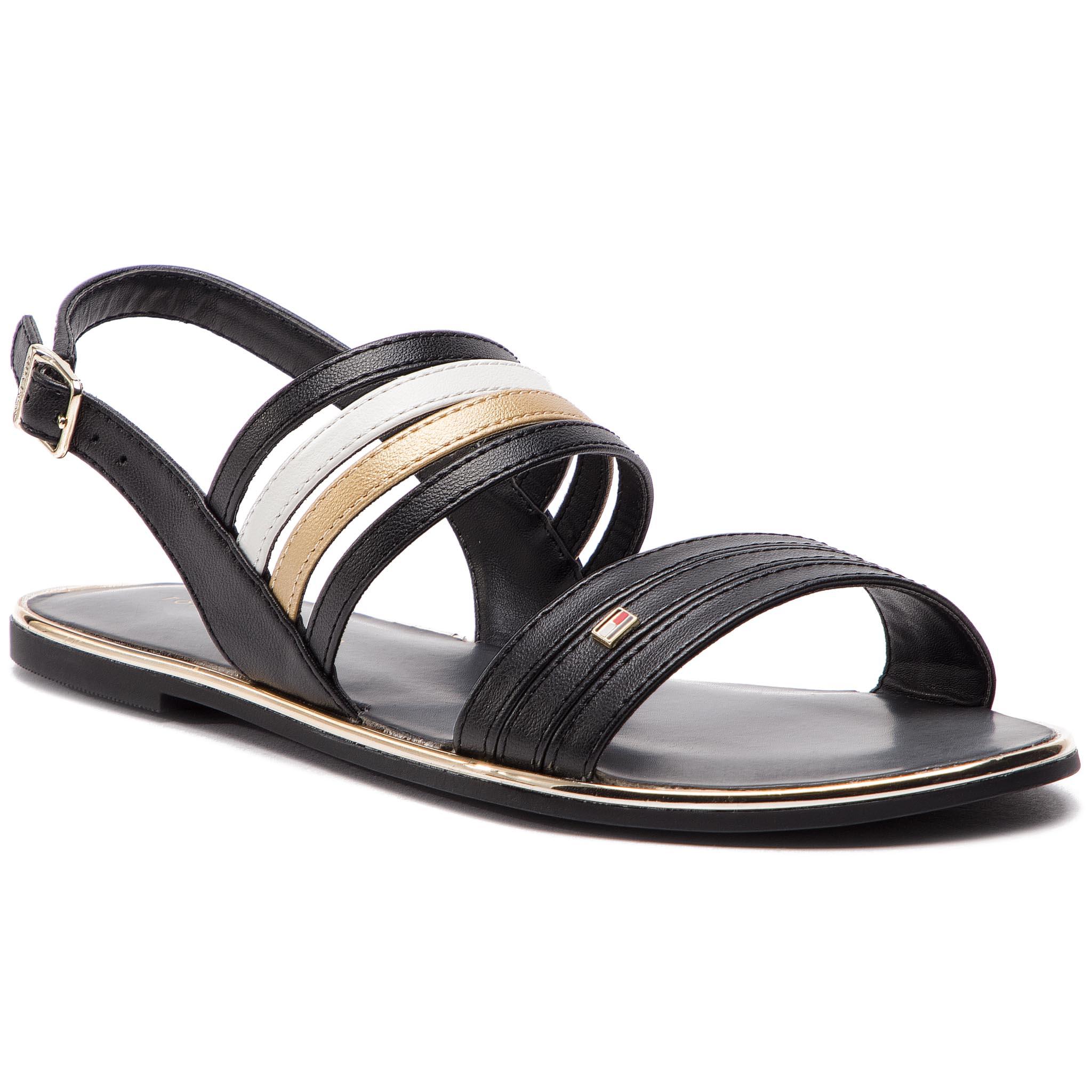 3bcc22c98a986 Sandále TOMMY HILFIGER - Strappy Flat Sandal FW0FW03667 Black 990 ...
