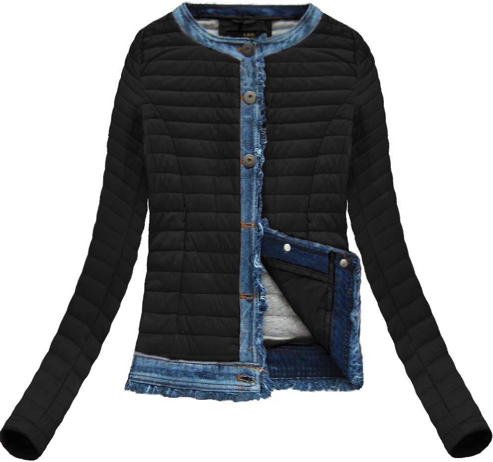 Libland Čierna bunda s džínsovými vsadkami (X7180X) - Glami.sk 1777bedcb2a