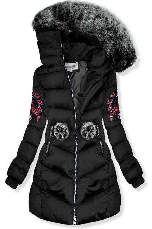 c0d13792367f Trendovo Černá zimní bunda s výšivkami - Glami.cz