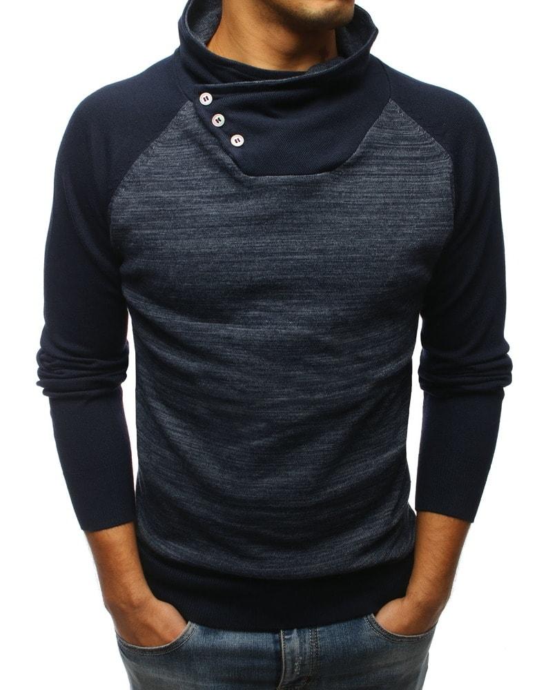 Dstreet Senzační tmavě modrý svetr s vysokým límcem - Glami.cz bc51191277